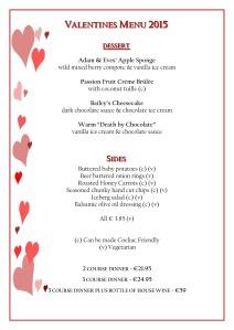 Valentines Menu 2015 - desserts, sides